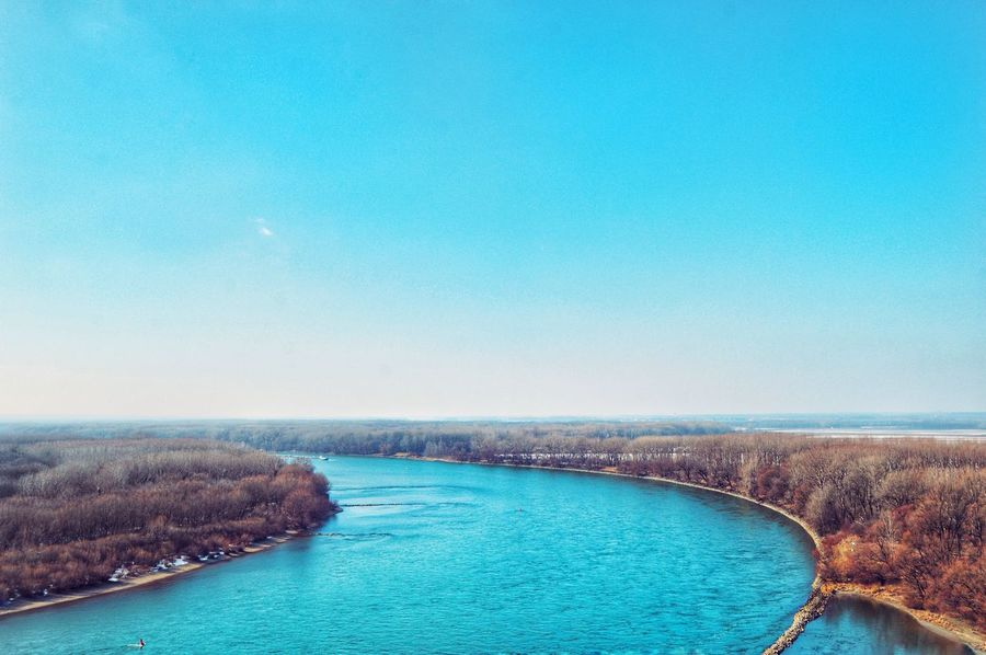 Landscape Landscape_Collection Landscape_photography Tranquility Tranquil Scene Blue River River River View River Danube Danube River Flowing Water Blue Aerial View Vacations Outdoors Travel Destinations Sky No People Nature Beauty In Nature Scenics