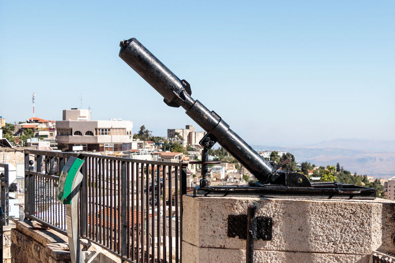 Monument for the Davidka, a legendary homemade mortar used in the Israel Independence war 1948, in Safed (Tzfat), Israel 1948 Army British Building Davidka Defence Fire Galillee Gun Hebrew Heritage Historic Homemade House Independence Israel Jewich Metal Mortar Moument Safed Stone Time Victory War