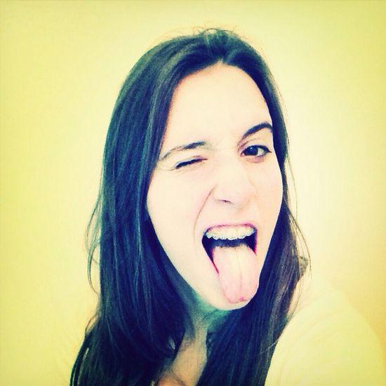 Grimacing Tongue Young Woman Girls