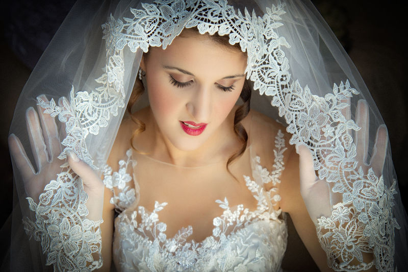 Adult Beautiful Woman Bride Celebration Clothing Event Fashion Front View Headshot Indoors  Life Events Newlywed One Person Portrait Real People Veil Wedding Wedding Dress White Color Women Young Adult Young Women