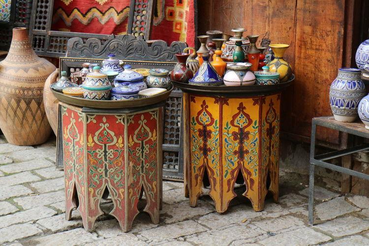 Crafts Fes Marketstreet Maroccain Medina Morocco Pottery Table Travel Travel Photography