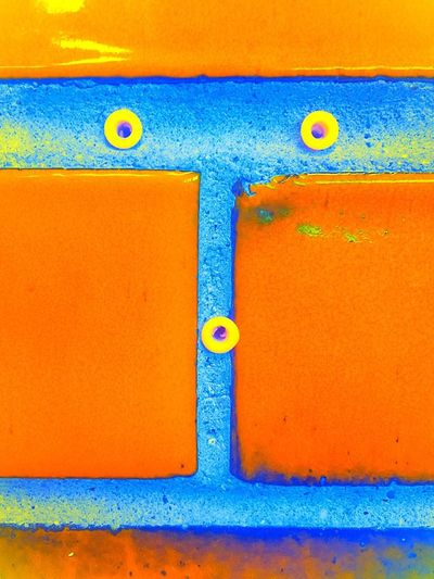 More PAREIDOLIA. A shocking face reaction. I found this in the Utah restroom. Art Is Everywhere Backgrounds Blue Close-up Day Full Frame Hinge Multi Colored No People Orange Color Outdoors Paint Pareidolia Red Restroom Picture Textured  Vibrant Color Yellow