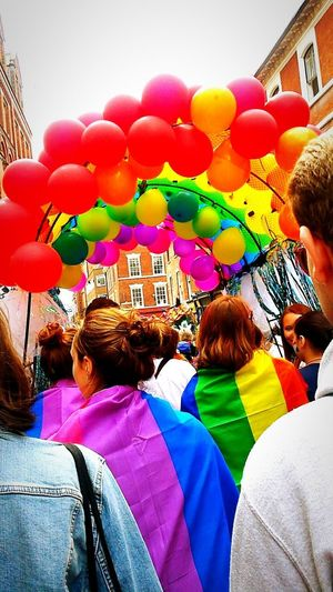 Notts Pride Balloon Multi Colored Celebration Adult People Women Helium Balloon Adults Only Men Togetherness Happiness Only Women Outdoors Party - Social Event Day Cheerful Real People Young Women Friendship City Lgbt Pride Lgbt LGBT Rainbows Rainbows