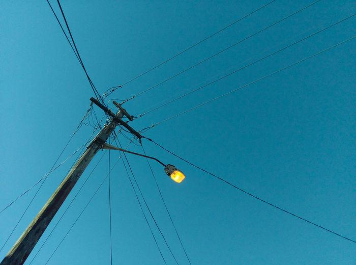 light on blue