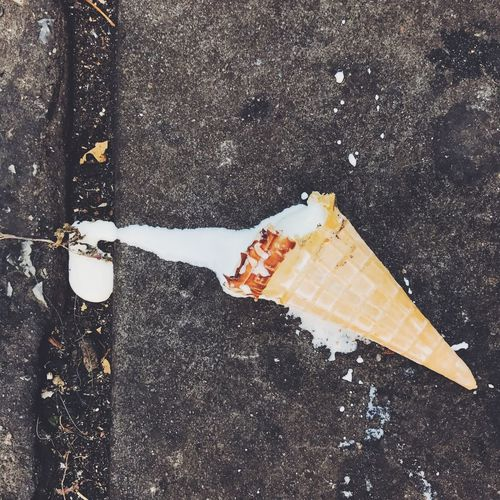 I scream, you scream, we all scream because I dropped my ice cream High Angle View Iphoneonly Ice Cream On The Ground Dropped Food