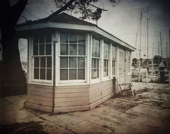 """Harbour Master"" Tiny harbour master cabin at the Embarcadero Cove Public Marina in Oakland, California. Built Structure House Black And White Photography Marina Harbor Harbour Harbour View Harbour Life"
