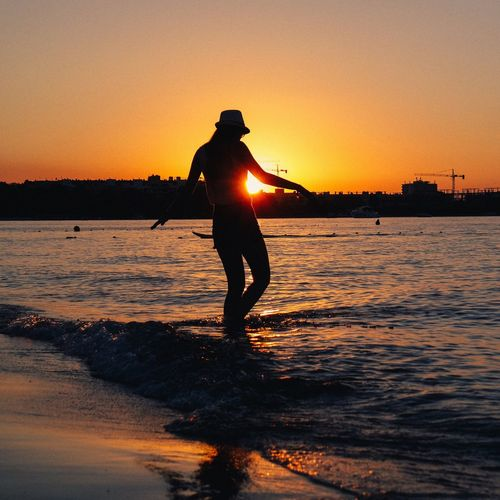 43 Golden Moments Sunset Summer Views Beauty In Nature Summertime Light And Shadow Seaview One Person People And Places