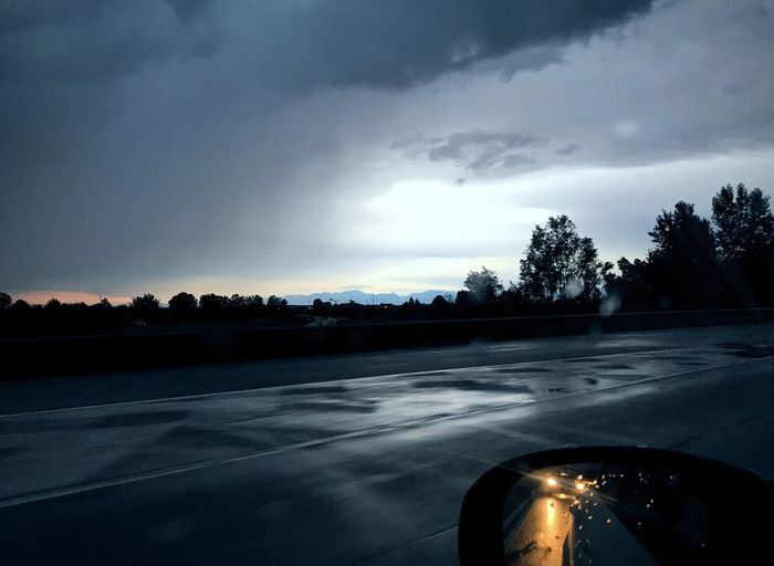 Sky Cloud - Sky Road Tree Landscape Storm Cloud Stormy Weather Rearview Mirror