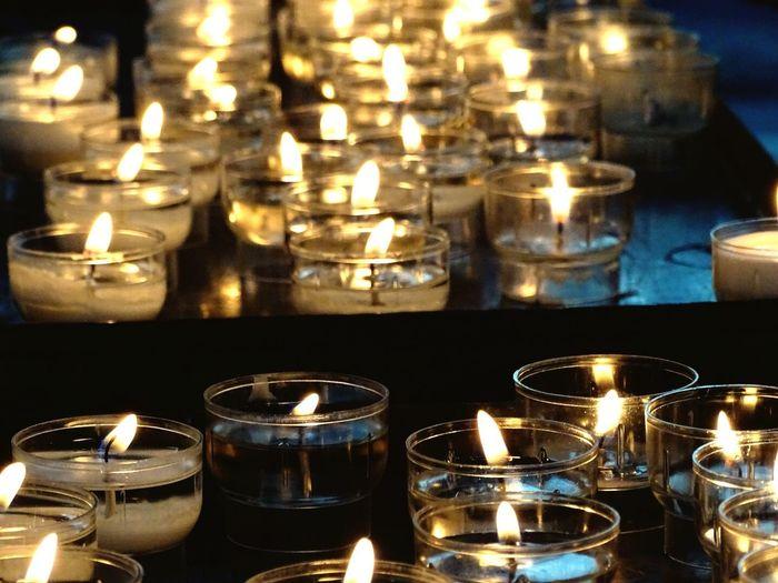 Lit Candles At Church