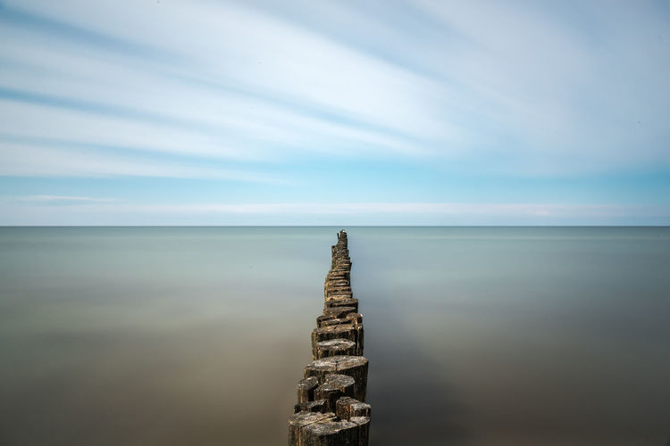 Baltic Sea Beauty In Nature Blue Buhne 15 Cloud - Sky Darß Day Feel The Journey Horizon Over Water Nature No People Non-urban Scene Outdoors Quiet Moments Scenics Sea Sea And Sky Shore Sky Tranquility Wooden Post Zingst
