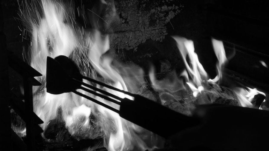Close-up of food cooking on fire