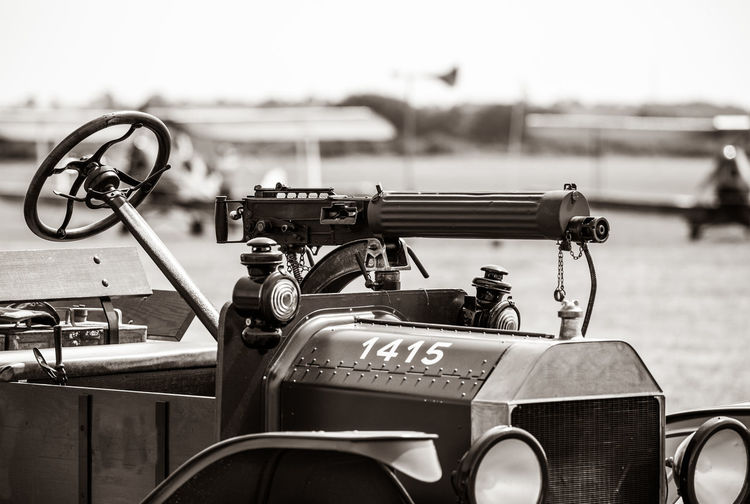Mounted machine gun on Model T Ford. Bicester Heritage Model T Arts Culture And Entertainment Close-up Day Equipment Flywheel Focus On Foreground Handle Land Vehicle Machine Gun Machinery Metal Mode Of Transportation Nature No People Old Outdoors Retro Styled Sky Steering Wheel Transportation World War 1