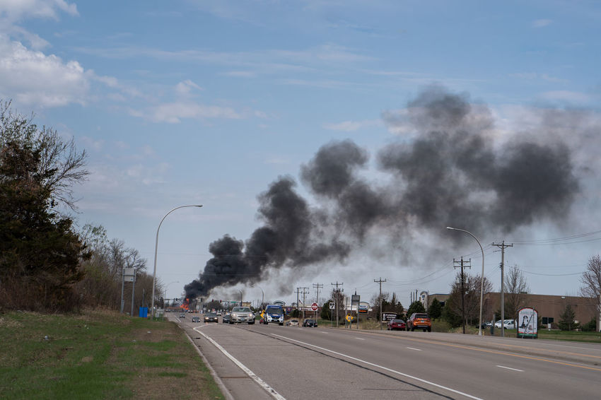Smoke Air Pollution City Day Environmental Issues Fire No People Outdoors Pollution Road Sky Smoke - Physical Structure Street