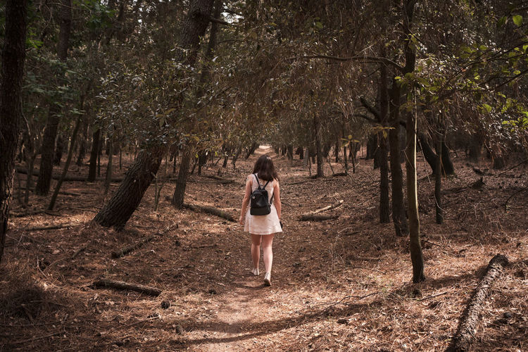 A young girl is walking on a path inside a woods