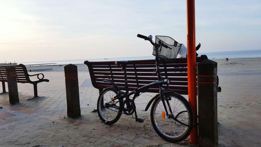 just a bike Bike Bicycle Water Sea Beach Sand Sky Horizon Over Water Travel Calm Seascape Shore Sandy Beach Hooded Beach Chair Idyllic