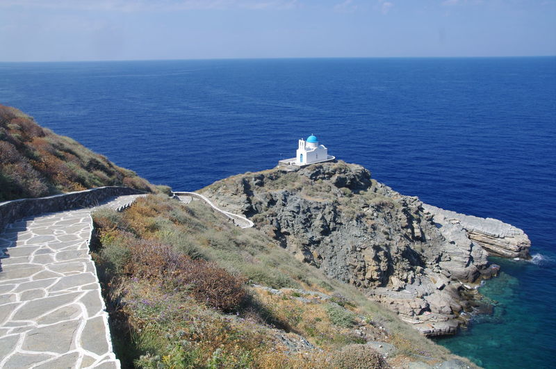 Church Griechenland Griechische Inseln Kirche Sifnos Island Sifnos, Greece  Beauty In Nature Cliff Day Greece Horizon Over Water Idyllic Lighthouse Nature No People Outdoors Rock - Object Scenics Sea Sifnos Sky Tranquil Scene Tranquility Water