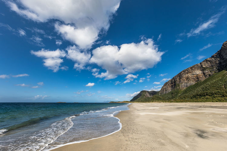 Langsanden Northern Norway Norway Beach Beauty In Nature Blue Blue Sky Cloud - Sky Day Horizon Over Water Mountain Nature No People Nordland Outdoors Sand Scenics Sea Sky Summer Tranquil Scene Tranquility Travel Destinations Water Wave
