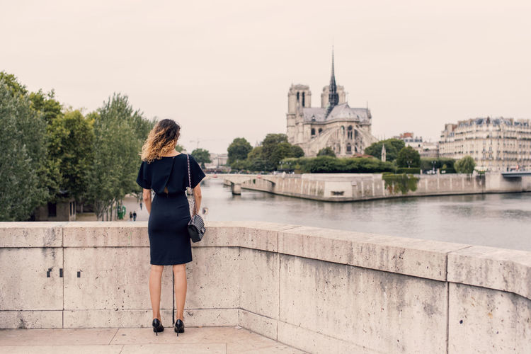 Rear view of woman in paris