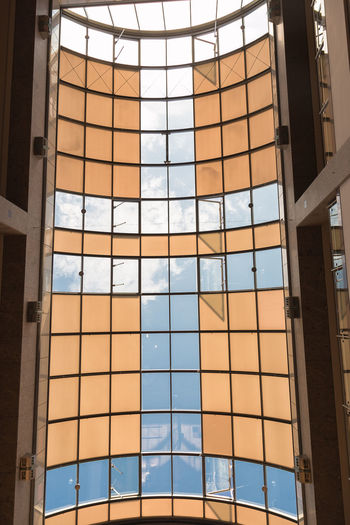 Up to the sky. Architecture Blue Color Built Structure Close-up Cloud - Sky Day Indoors  Low Angle View Modern No People Nusshain 06 17 Orange Color Sky The Architect - 2017 EyeEm Awards Window