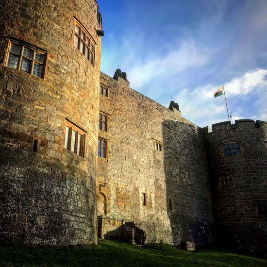 Visitwales Nationaltrust Chirk Castle Chirk Building Exterior Built Structure Architecture Sky Building Nature History The Past Low Angle View No People Cloud - Sky Day Wall - Building Feature Old Outdoors Sunlight Travel Destinations Castle Water Fountain