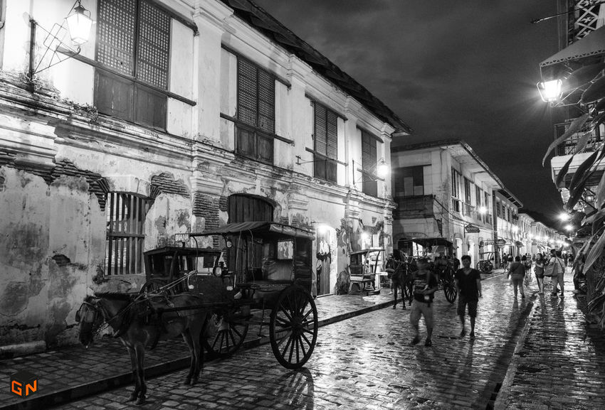 Animal Themes Architecture Blue Skies Blue Skies ⛅ Building Exterior Built Structure Calle Crisologo City Domestic Animals Heritage Building Heritagebuilding HeritageVillage Horse Cart Illuminated Night Outdoors Sky Street Transportation Vigan Philippines Vigan, Ilocos Sur