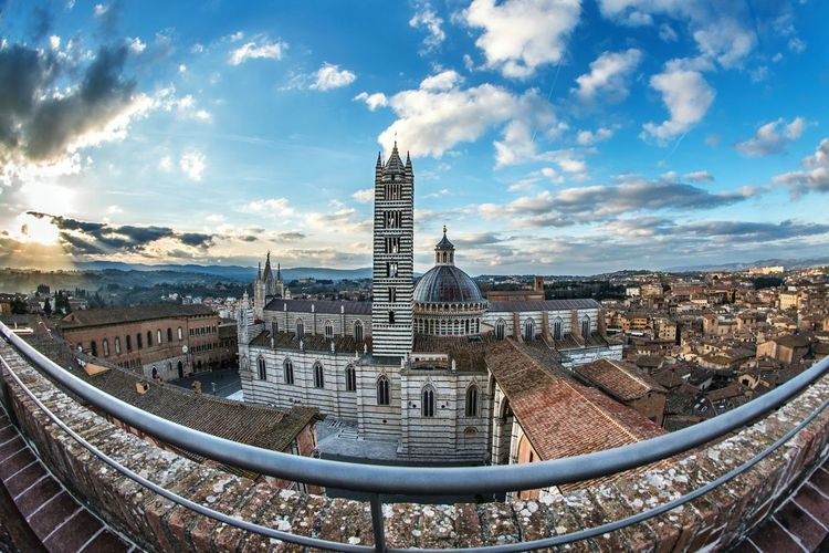 Panoramic view of Siena Siena, Italy Tuscany Italy❤️ Cathedral Duomo Di Siena EyeEm Selects City Cityscape Urban Skyline Panoramic High Angle View History Town Sky Architecture Building Exterior Fish-eye Lens Skyscraper Aerial View Postcard