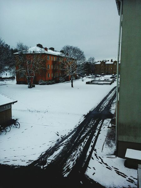 just after the ice on the streets and the icy river melted, and the temperature got warmer, people were waiting for the spring, non-white city and green trees , but the cold white snow covered Eskilstuna. Snow ❄ WHiTE WORLD Icy Road