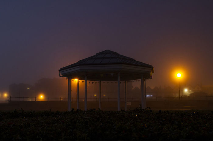 Broadstairs bandstand in the mist Bandstand Broadstairs City Colour Film Industry Foggy Illuminated Lights Night No People Outdoors Projection Screen Shadow Shadows & Lights Sky Stadium Sunrise Sunset