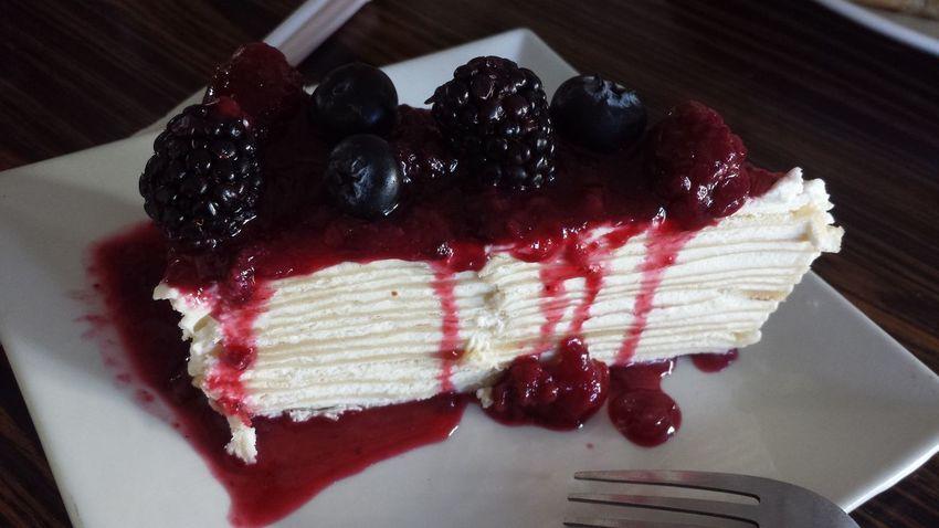 😋❤🍰🍴 Pastel_de_crepas Frutos_rojos Rico Novio💕 Cafe 😚 Food Blueberry Moras Day