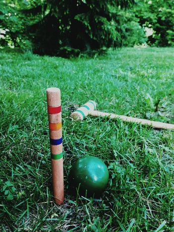 Grass Day Outdoors No People Close-up Lines, Shapes And Curves Croquet Playing Games Game Competitive Summer Activity Outdoor Activity Family Fun Colors Colorful Summer Weekend