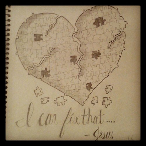 Just a lil something I drew up maybe as a tat design. Jesuscanfixit Brokenheart Tatdesign Tatted heart helovesus leanonhim