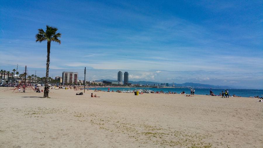 People on beach against blue sky