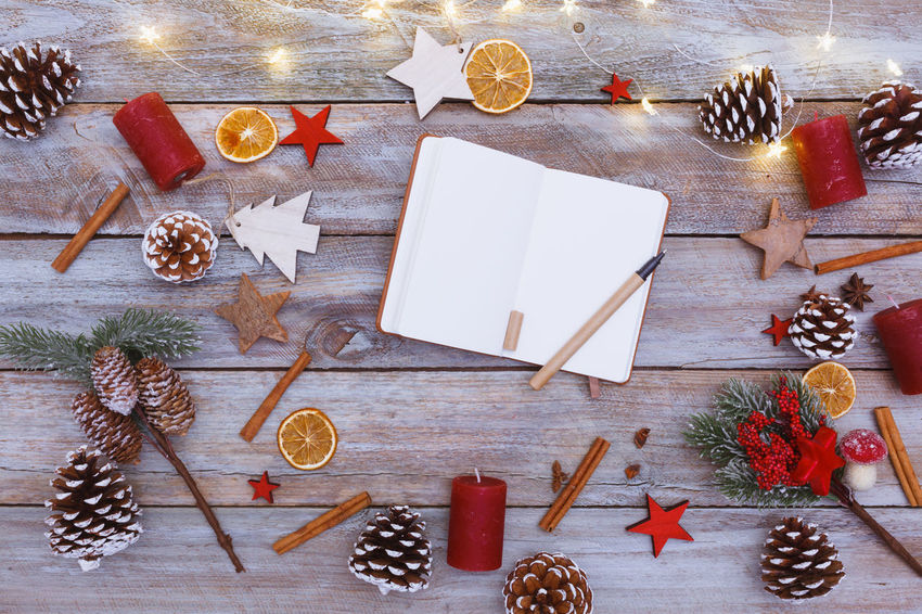 Christmas Copy Space December Desk From Above  Holiday Lights Winter Wintertime Wood Border Decoration Design Empty End Flat Lay Frame High Angle View No People Season  Seasonal Table Year