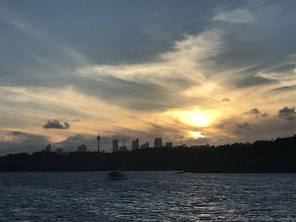 Sydney, Australia, 7th January, 2017, Sunset over the city. View from a ferry. Beautiful Beautiful View Blue Sky Blue Sky And Clouds Boat View City Cloud Clouds Clouds And Sky Cloudy Evening Evening Sky No People Outdoors Outsude Sea Sea And City Sea And Sky Sky Sun Sunset Water