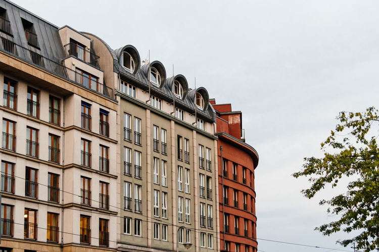 Low angle view of old residential buildings in berlin mitte, germany.