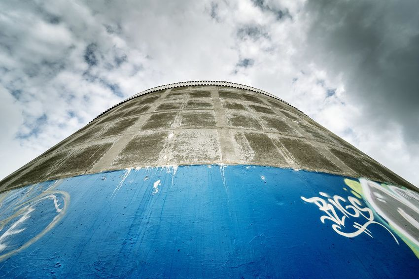 Water Tank Colour Contrast Colour Blue Australia Midnorthcoast Newsouthwales Dome City Sky Architecture Close-up Cloud - Sky Directly Below