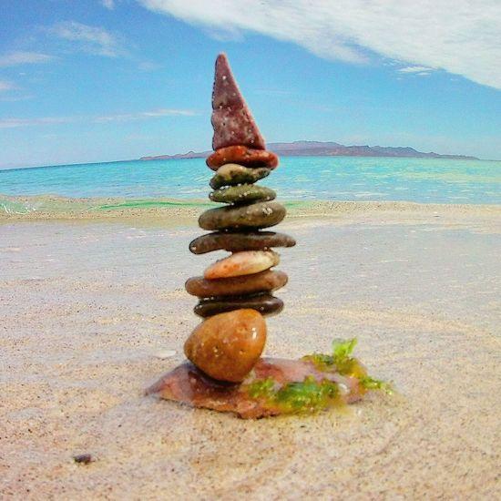 Stone Balancing Beach Ocean Sand Mexico Baja Summer Sun