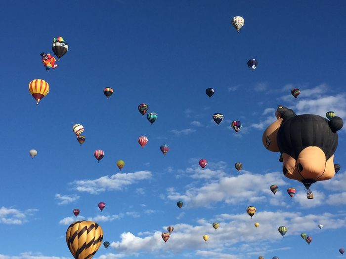 EyeEm Selects Mid-air Flying Sky Outdoors Low Angle View Day Parachute Nature No People Hot Air Balloon