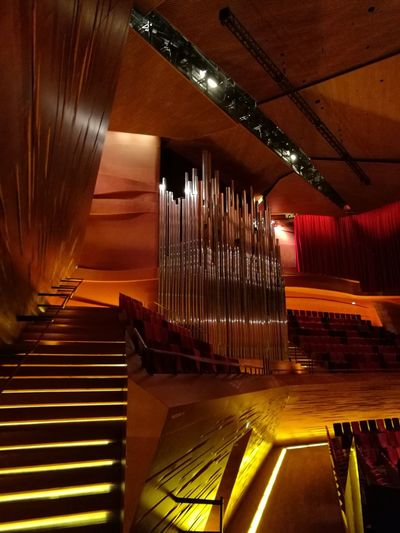 Part of the concert hall at the public Danish broadcasting Architecture Koncert Broadcasting Indoors  No People Staircase Musical Instrument Day