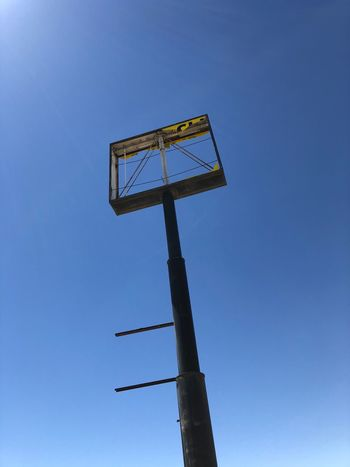 Ghost Town! Sign Sky Low Angle View Blue Clear Sky Nature No People Day Metal Sunlight