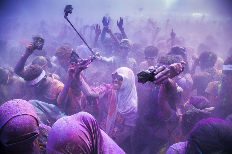 Crowd Playing Holi