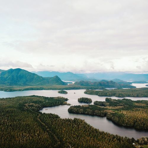 Scenic view of lake against sky, tofino beach vancouver island from above