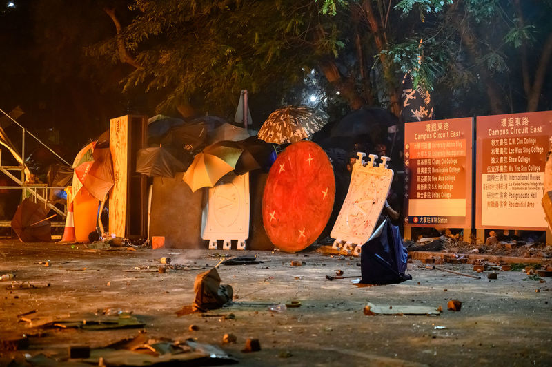 Barricades on road during protest in city at night
