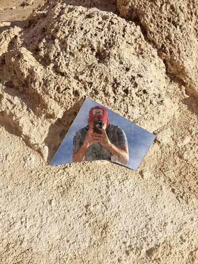 The desert selfie shot off a random piece of broken mirror, off the bucket list. 😃 FreedomToRoam Trona Pinnacles Selfie✌ Self Portrait Around The World