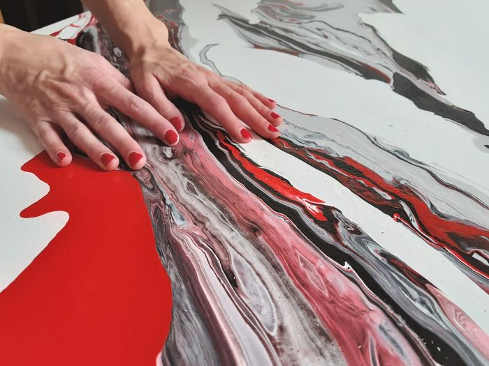 Acrylic Painting Abstract Art Abstract Painting Flow  Red Black Gray White ArtWork Artist Art, Drawing, Creativity Human Hand Red Close-up Nail Polish Analogue Sound