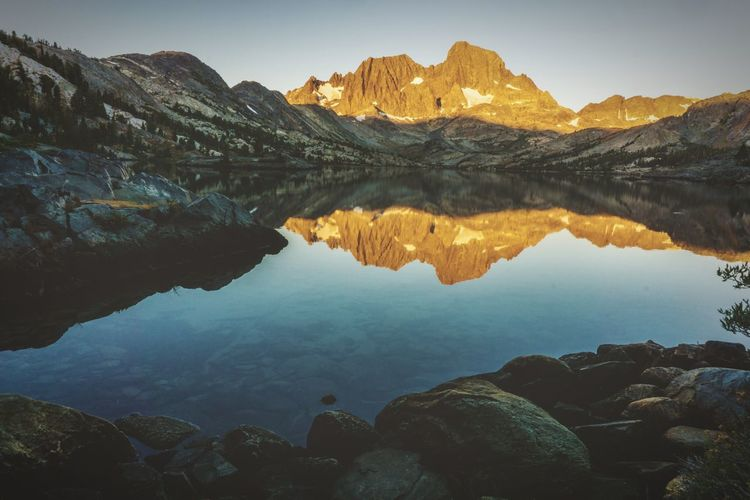 Garnet Lake, Mammoth Lakes, CA SunsetSunriseEyeEm Selects Reflection Lake Mountain Water Rock - Object Scenics Nature Sky Beauty In Nature No People Outdoors Blue Mountain Range Sunrise Mammothlakes Day Lost In The Landscape