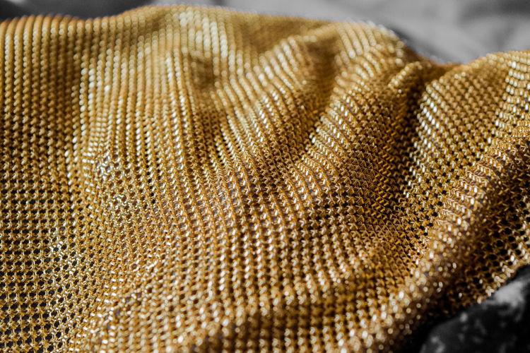 Detail shot of golden metal