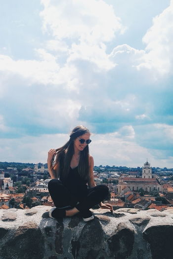 One Woman Only Adults Only Only Women Adult One Person People Cloud - Sky Sky Outdoors Day One Young Woman Only Portrait Women Young Adult Warm Clothing Nature Summer Vilnius Lithuania Vilnius Old Town Old Town Travel Destinations Town City Life Cityscape