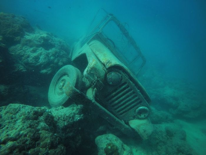 Sunken Car On The Bottom Of The Sea