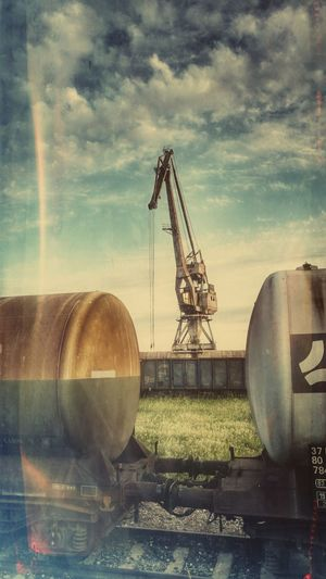Train Crane Crane - Construction Machinery Industrial Photography Industrial Industrial Landscapes Retro Styled Retro Retro Style Komárno Retro Styled The Innovator